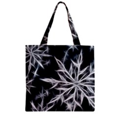Snowflake in feather look, black and white Zipper Grocery Tote Bag