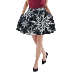Snowflake in feather look, black and white A-Line Pocket Skirt