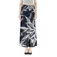 Snowflake in feather look, black and white Maxi Skirts