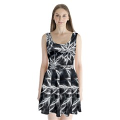 Snowflake in feather look, black and white Split Back Mini Dress