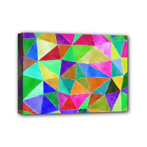 Triangles, colorful watercolor art  painting Mini Canvas 7  x 5