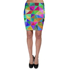 Triangles, colorful watercolor art  painting Bodycon Skirt