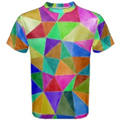 Triangles, colorful watercolor art  painting Men s Cotton Tee