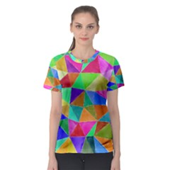 Triangles, colorful watercolor art  painting Women s Sport Mesh Tee