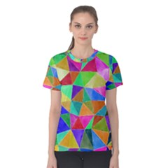Triangles, colorful watercolor art  painting Women s Cotton Tee
