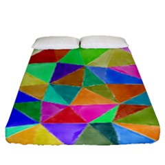 Triangles, Colorful Watercolor Art  Painting Fitted Sheet (queen Size)