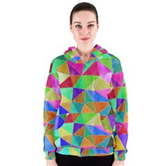 Triangles, colorful watercolor art  painting Women s Zipper Hoodie