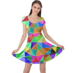 Triangles, colorful watercolor art  painting Cap Sleeve Dresses