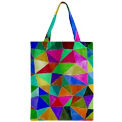 Triangles, colorful watercolor art  painting Zipper Classic Tote Bag