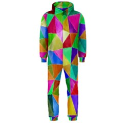 Triangles, colorful watercolor art  painting Hooded Jumpsuit (Men)