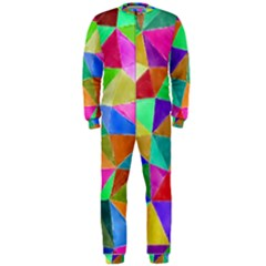Triangles, colorful watercolor art  painting OnePiece Jumpsuit (Men)