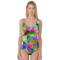 Triangles, colorful watercolor art  painting Princess Tank Leotard