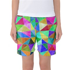 Triangles, colorful watercolor art  painting Women s Basketball Shorts