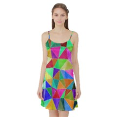 Triangles, colorful watercolor art  painting Satin Night Slip