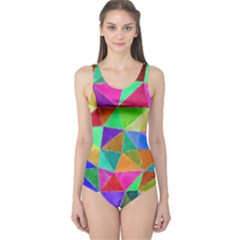 Triangles, colorful watercolor art  painting One Piece Swimsuit