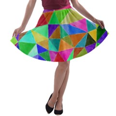 Triangles, colorful watercolor art  painting A-line Skater Skirt