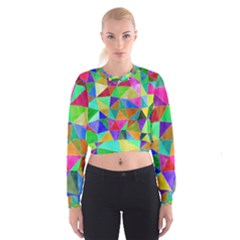 Triangles, colorful watercolor art  painting Women s Cropped Sweatshirt