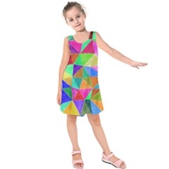 Triangles, colorful watercolor art  painting Kids  Sleeveless Dress