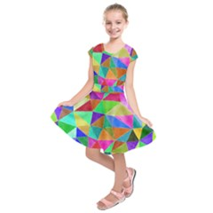 Triangles, colorful watercolor art  painting Kids  Short Sleeve Dress