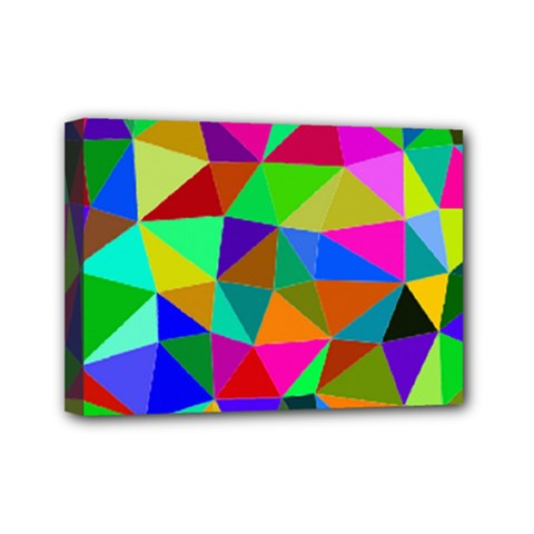 Colorful Triangles, oil painting art Mini Canvas 7  x 5