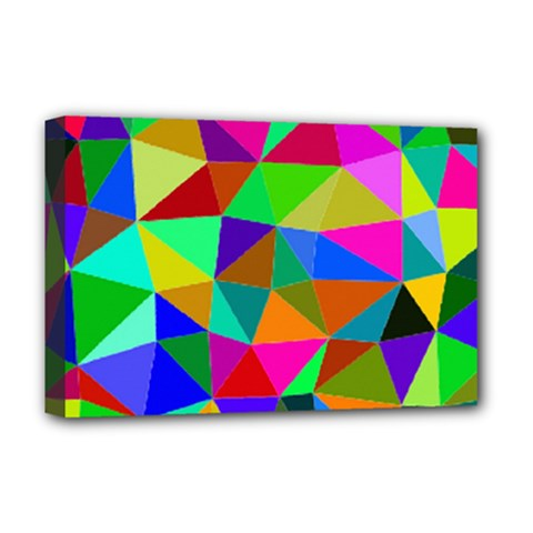 Colorful Triangles, oil painting art Deluxe Canvas 18  x 12