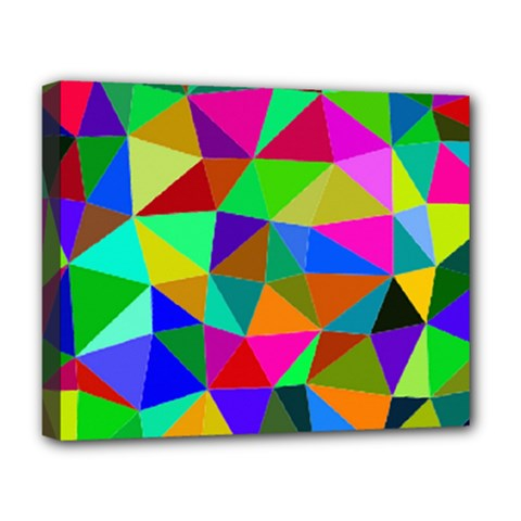Colorful Triangles, oil painting art Deluxe Canvas 20  x 16