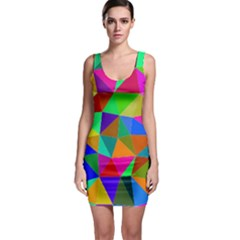 Colorful Triangles, oil painting art Sleeveless Bodycon Dress