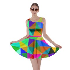 Colorful Triangles, oil painting art Skater Dress