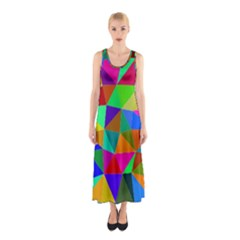 Colorful Triangles, oil painting art Sleeveless Maxi Dress