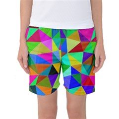 Colorful Triangles, oil painting art Women s Basketball Shorts