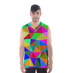 Colorful Triangles, oil painting art Men s Basketball Tank Top