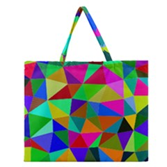 Colorful Triangles, oil painting art Zipper Large Tote Bag