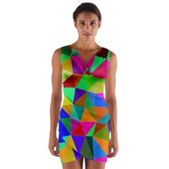 Colorful Triangles, oil painting art Wrap Front Bodycon Dress