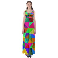 Colorful Triangles, oil painting art Empire Waist Maxi Dress