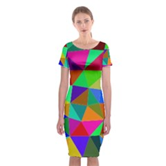 Colorful Triangles, oil painting art Classic Short Sleeve Midi Dress