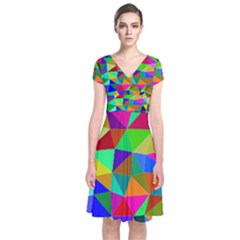 Colorful Triangles, oil painting art Short Sleeve Front Wrap Dress
