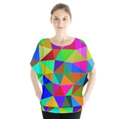 Colorful Triangles, oil painting art Blouse