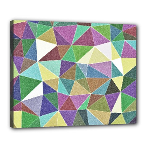 Colorful Triangles, pencil drawing art Canvas 20  x 16