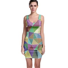 Colorful Triangles, pencil drawing art Sleeveless Bodycon Dress