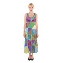 Colorful Triangles, pencil drawing art Sleeveless Maxi Dress