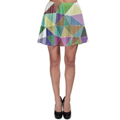 Colorful Triangles, pencil drawing art Skater Skirt