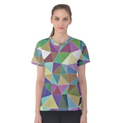 Colorful Triangles, pencil drawing art Women s Cotton Tee