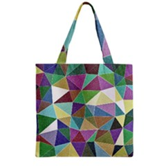 Colorful Triangles, pencil drawing art Grocery Tote Bag