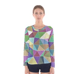 Colorful Triangles, pencil drawing art Women s Long Sleeve Tee