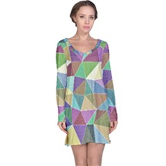 Colorful Triangles, pencil drawing art Long Sleeve Nightdress