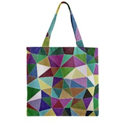 Colorful Triangles, pencil drawing art Zipper Grocery Tote Bag