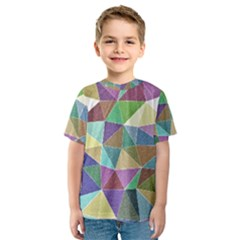 Colorful Triangles, pencil drawing art Kids  Sport Mesh Tee