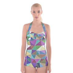 Colorful Triangles, pencil drawing art Boyleg Halter Swimsuit
