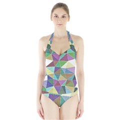 Colorful Triangles, pencil drawing art Halter Swimsuit