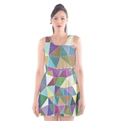 Colorful Triangles, pencil drawing art Scoop Neck Skater Dress